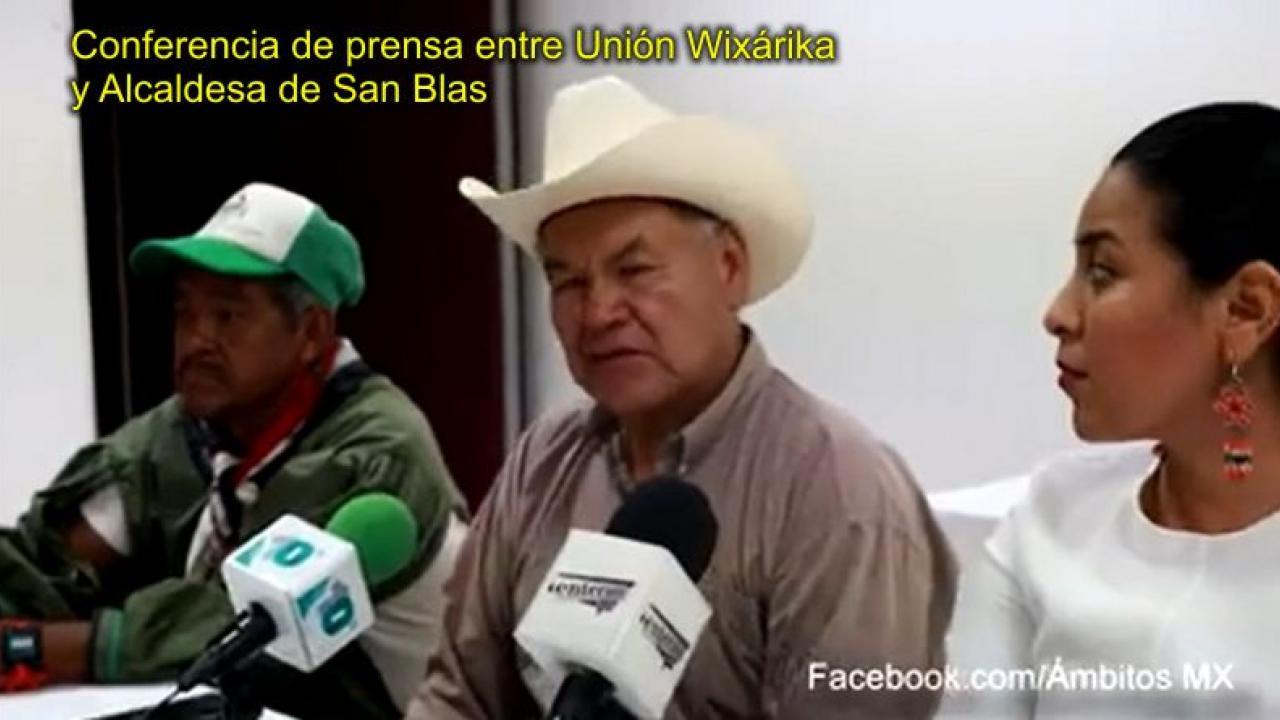 Conferencia de prensa entre Unión Wixárika y Alcaldesa de San Blas - Ambitos.Mx