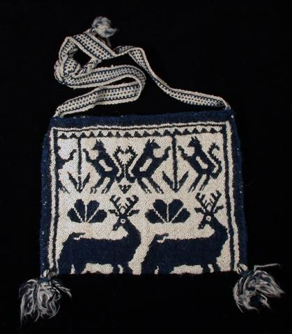 Shoulder bag with motifs representing the deer, squirrel, and peyote.