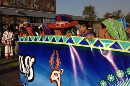 "Wixarika delegation organizers say: ""Save Wirikuta: The Sacred Heart of Mexico"" [Gabriela Delgadillo/Al Jazeera]"