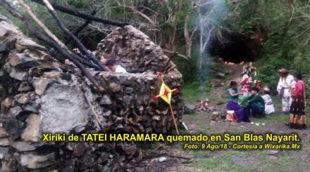 Xiriki quemado en San Blas Nayarit - Foto cortesía de Wixárika.Mx